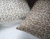 Taupe leopard print on white or natural gray linen home decor hand block printed pillow case your choice of sizes