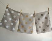 Polka Dot Hand Printed Natural Gray Linen Pillow Case your choice of color and size