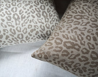 Taupe leopard print decorative linen pillow cover on white or natural gray brown hand block printed home decor modern minimalist
