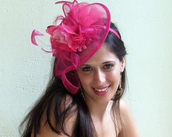Hot pink fascinator hat  Hot Pink Wedding Hat STAVVY PEON