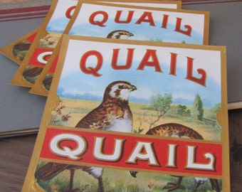 5 x Vintage Quail Bird Large Square Cigar Labels Perfect for Journalling Scrapbooking Altered Arts Etc