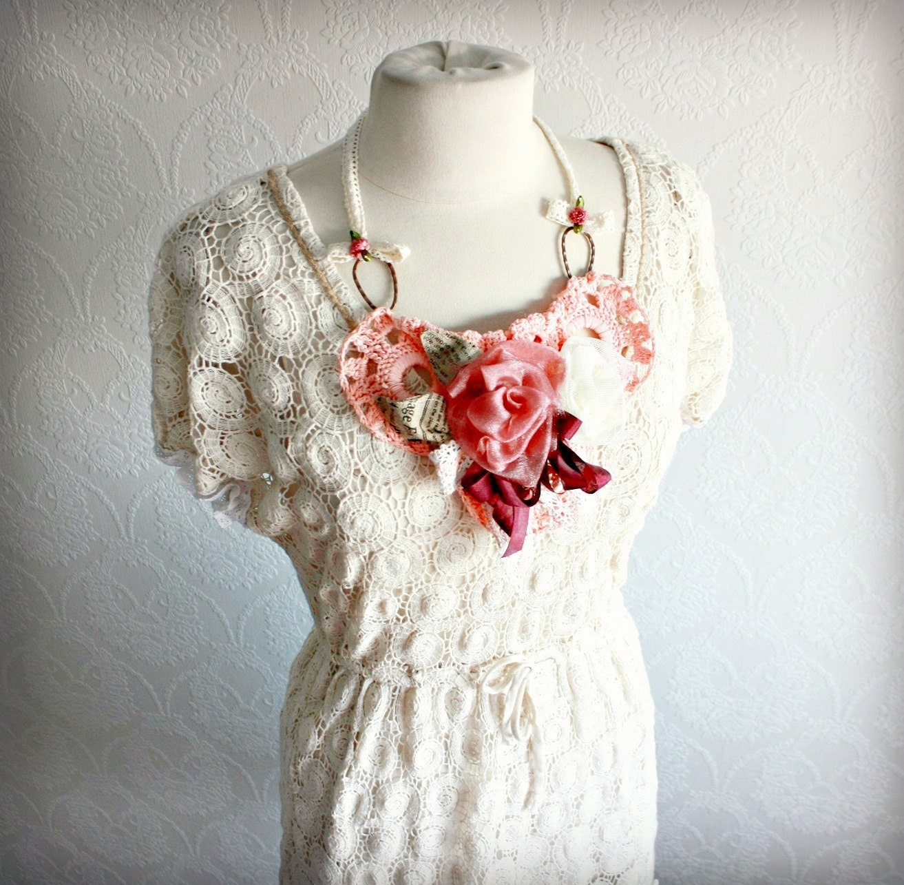 Women S Cream Lace Dress Shabby Chic Clothing Upcycled Eco