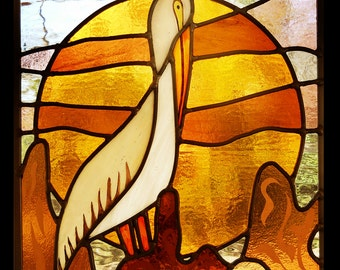 Pelican at Sunset  Stained Glass
