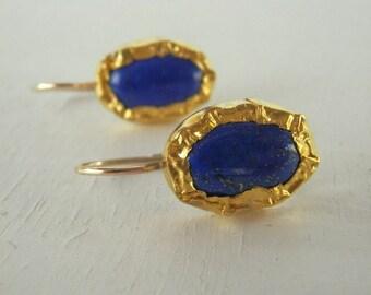 Blue Lapis 24K Solid Gold Bezel Set Earrings, Oval Lapis Earrings, Gemstone Earrings, Gold Earrings, Hammered Earrings, Fine Jewelry