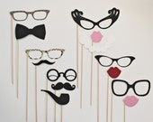 Mad Men Photo Booth Props. Black Tie Wedding Party Photo Booth Prop Set. Photo Booth Props. Little Retreats Set of  14.