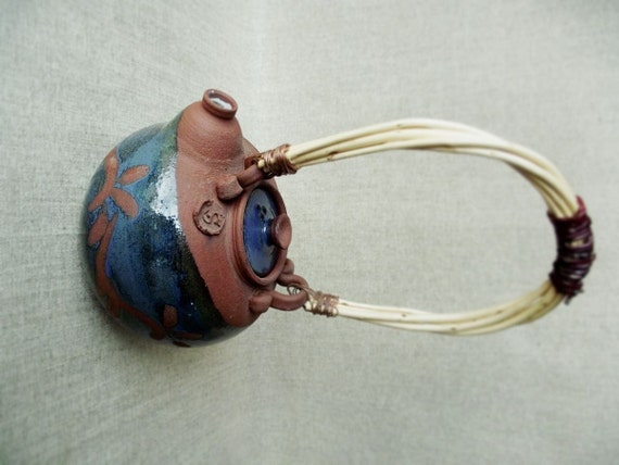 Stoneware Teapot in red clay and blue glaze  - Stoneware (grès) Teapot - Handmade handle