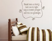 Read me a story  - kiss me goodnight - vinyl decal design - nursery - play room -20x22 inches