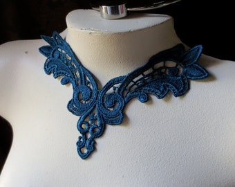 Lace Applique in Teal for Lace Jewelry, Garments, Costume Design CA 122tl