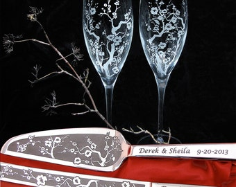 Cherry Blossom Champagne Flutes, Wedding Cake Server Set, Japanese Wedding Flutes Decoration