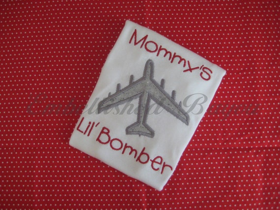 Mommy's Lil' Bomber Onesie or Tshirt with B-52 Airplane Applique
