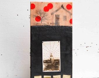 Our FARM Original Encaustic Painting Rustic Farm House Black Soil Vintage Photograph Gold Red