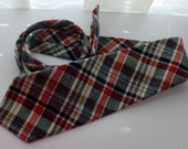 Extra Wide Red, Navy, and Olive Plaid Wool Tie