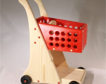 Toy Cart Pretend Shopping Cart Wooden with Doll Seat - Free Packaged Grocery Blocks Included - a 29 dollar value