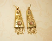 ANtique Victorian Tri gold Earrings Fringe Rose gold yellow gold green gold blackhills gold
