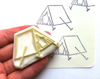 camping tent stamp. outdoor hand carved rubber stamp. diy birthday wedding scrapbooking. summer holiday gift wrapping. card making