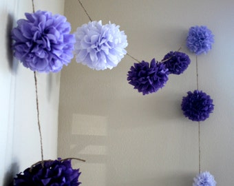 PURPLE OMBRE tissue paper pom garland dessert candy bar decorations first birthday photoshoot prop high chair garland spa party lavender