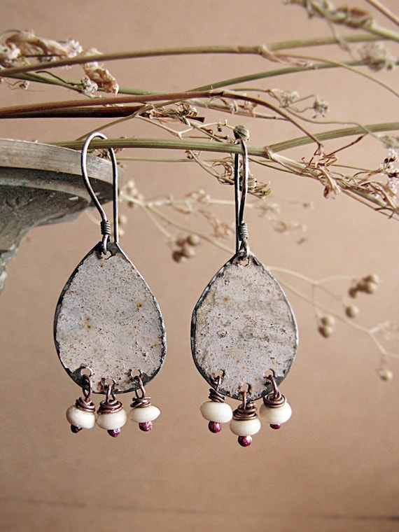 Paladean - eco friendly jewelry - vintage tin earrings -  reclaimed metal - salvaged beads - rustic romantic