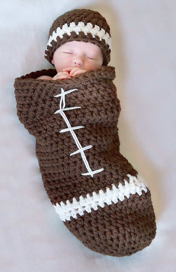 Football Cocoon And Beanie Pattern Newborn Crochet Digital