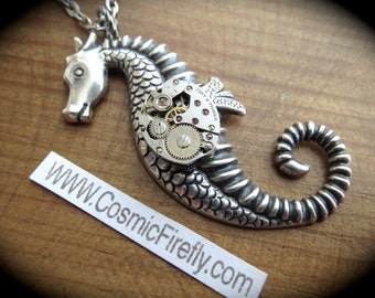 Steampunk Necklace Seahorse Necklace Art Deco Necklace Gothic Victorian Antiqued Silver Seahorse Nautical Jewelry New