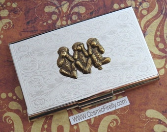 Brass Monkeys Business Card Case Silver Plated Vintage Inspired Gothic Victorian Steampunk Card Case