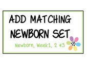 NEWBORN SET - Newborn or Just Born, Week 1, 2 and 3 Iron On decals or Monthly Stickers - to MATCH any 12 monthly iron on pack