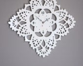giant lacy doily clock white acrylic