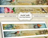 ETSY SHOP BANNERS, Set No10 - Multipurpose digital images, Printable Download, Digital Collage Sheets, Bookmarks, Paper strips, Art Cult