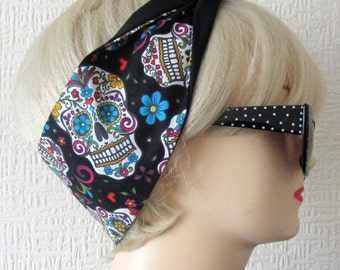 Sugar Skull Hair Tie Day of The Dead Flowers in Black , Rockabilly Head Scarf by Dolly Cool