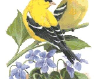 New Jersey State Bird & Flower Counted Cross Stitch Pattern