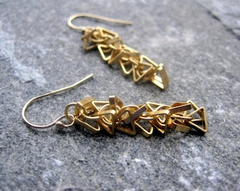 Triangle Earrings - Gold Triangle Earrings- Modern Triangle Earrings