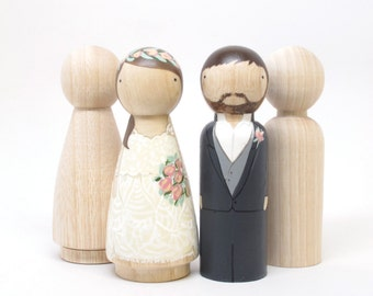 "4 Peg Doll Wedding Cake Toppers, size 3.5"" // Fair Trade Wooden Dolls Wedding Decor Cake Toppers Peg Dolls"