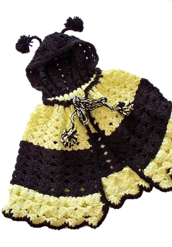Bumble Bee Cape, Crochet Cape with Hood, Yellow and Black