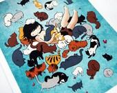 11x14 Cat Art - color fine art print - drawing mixed media colorful crazy cat lady