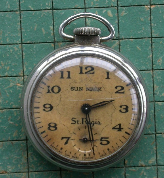Vintage Sun Mark Pocket Watch Good For Parts Repair