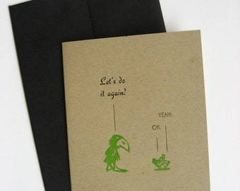 Valentine's Card, Letterpress and Naughty, Jayhawk and The Hens Note Card, White and Green, a Sassy Card.