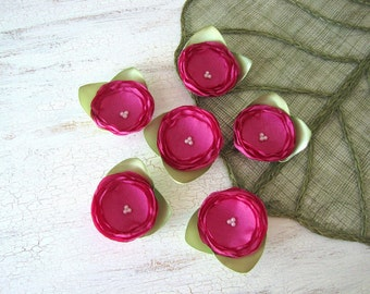 Fabric flower appliques, silky satin flower embellishments (6 pcs) - FUCHSIA PINK ROSES with leaves
