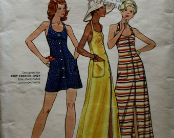 Butterick 3153 Vintage 1960's-1970's Halter Dress Sewing Pattern Size 14