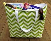Beach Bag, Green Chevron, Large Beach Tote, Summer Bag, Weekend Travel Bag, Teacher Tote