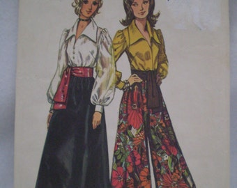 1972 Long Pantskirt or Skirt with Sash and Blouse Pattern, Simplicity 5235, Size 16