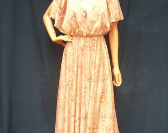 70s Mauve Pink Cherry Blossom Dress size Small Capelet Top Maxi Dress