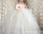 Champagne Tulle Flower Girl Dress - size 1T to 5T Tulle and Lace