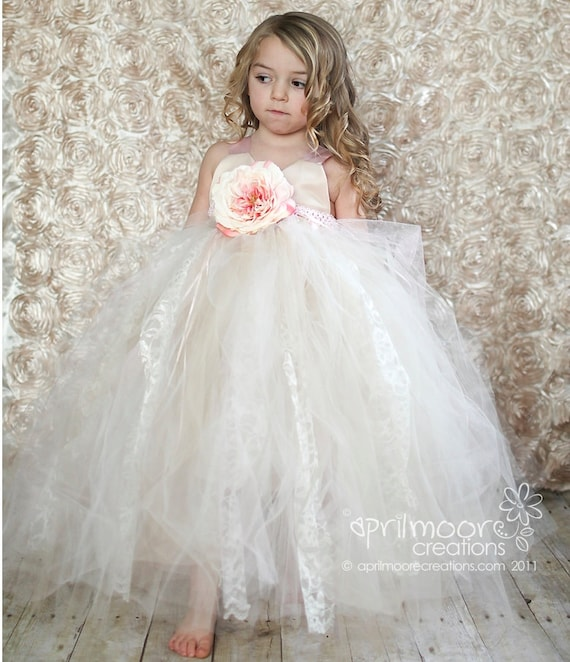 Champagne Tulle Flower Girl Dress Size 1T To 5T Tulle And