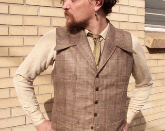 Wool and Silk Plaid Suits---Retro Vests and Pants Custom Made
