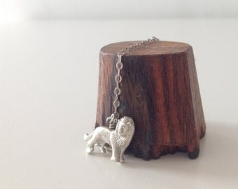 SILVER LION CHARM Necklace