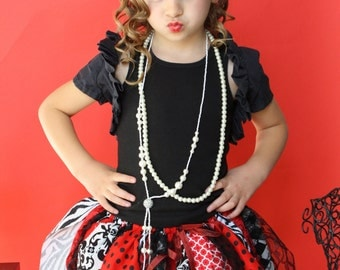 Fabric Scraps Tutu Skirt Black and White and Red Queen of Hearts Chic MADE TO ORDER size Newborn to 4T