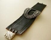 Leather Cuff Bracelet, Antique Buckle Brown Silvertone Rocker Bling