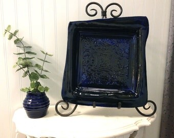 Large Midnight Blue Square Serving Platter