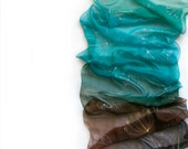 Aqua Dandelions ombre silk scarf. Aqua emerald to brown ombre scarf with silver dandelions. Caribbean colored scarf. MADE TO ORDER