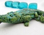 Handmade Ceramic Pendant  - Focal Pendant/ Bead Ceramic Alligator Green  #1