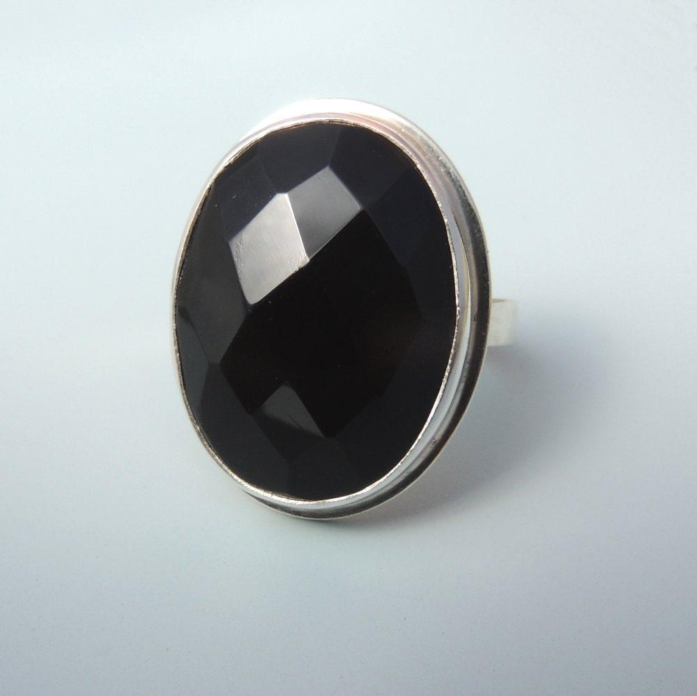Raw Black Onyx Stone Black onyx ring sterling